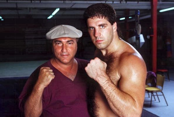 TRAINER/MANAGER VINNIE VECCHIONE WITH HIS TOP FIGHTER, PETER McNEELEY