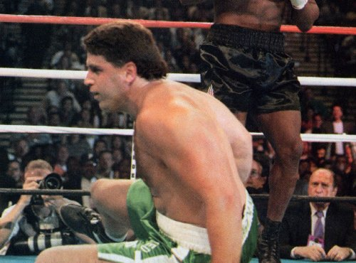 PETER McNEELEY GETS UP AFTER A FLASH KNOCKDOWN IN THE TYSON FIGHT